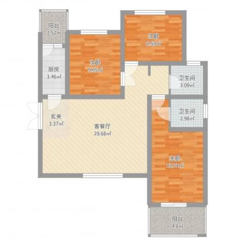 金穗花园3室2厅2卫1厨98.00㎡户型图