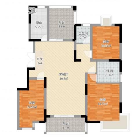 金穗花园3室2厅2卫1厨131.00㎡户型图