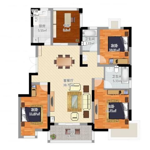 金穗花园4室2厅2卫1厨131.00㎡户型图