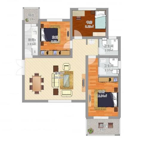 金穗花园3室2厅2卫1厨99.00㎡户型图