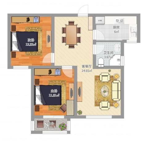 潜龙新村2室2厅1卫1厨76.00㎡户型图