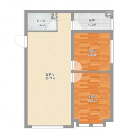远洋广场2室2厅1卫1厨75.00㎡户型图