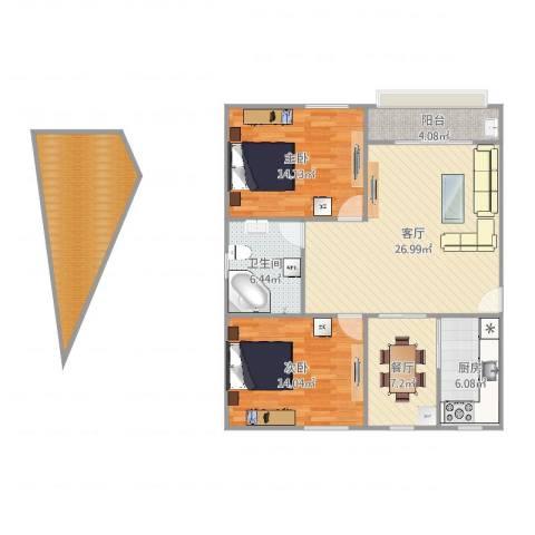 凤凰花园2室2厅1卫1厨114.00㎡户型图