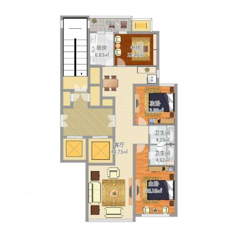 柳逸花苑3室1厅2卫1厨206.00㎡户型图