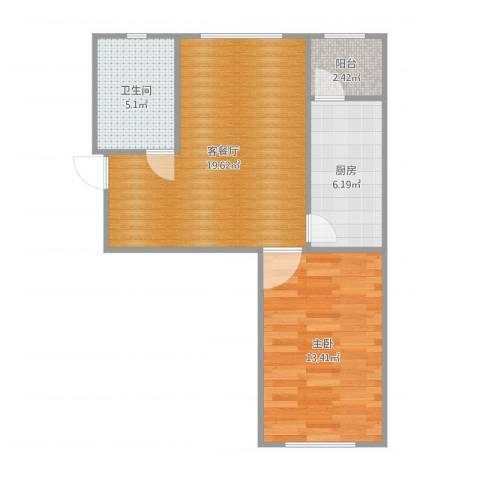 格兰云天1室2厅1卫1厨58.00㎡户型图