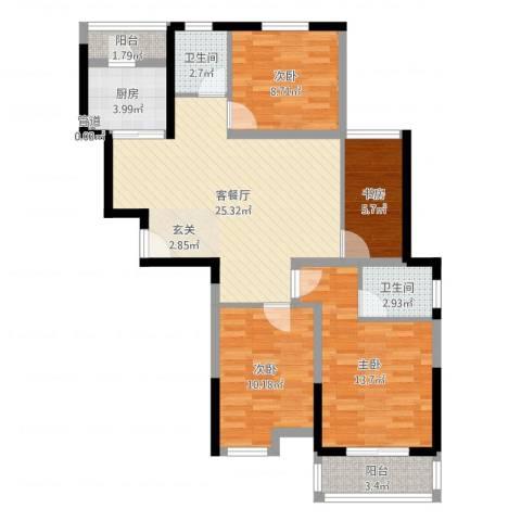 神州河畔景苑4室2厅2卫1厨98.00㎡户型图