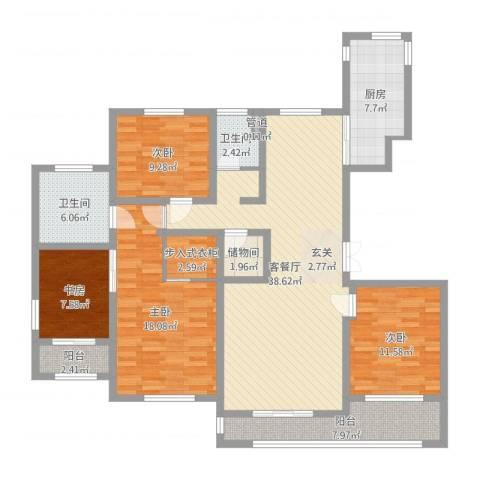 国华天玺4室2厅2卫1厨145.00㎡户型图