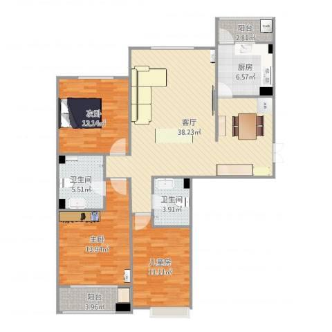 八家嘉苑3室1厅2卫1厨123.00㎡户型图