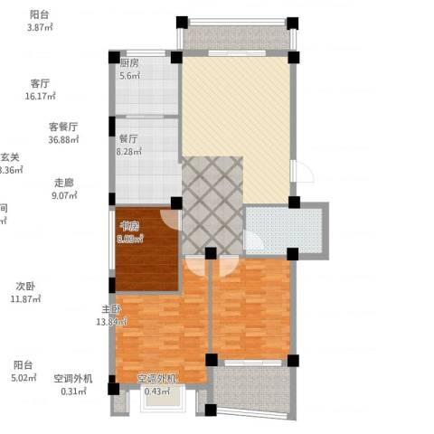 依海嘉园3室2厅1卫1厨114.00㎡户型图