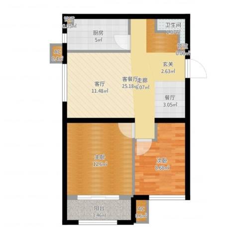 尚湖名筑2室2厅1卫1厨71.00㎡户型图