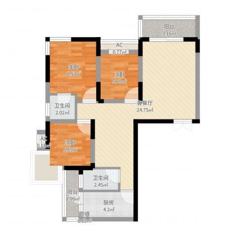 复兴路甲65院3室2厅2卫1厨75.00㎡户型图