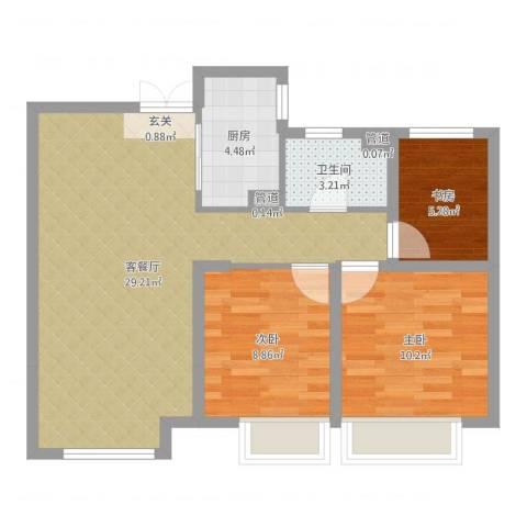 如皋中南世纪城3室2厅1卫1厨77.00㎡户型图