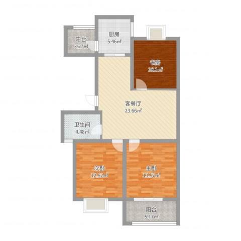 星鑫家园3室2厅1卫1厨98.00㎡户型图
