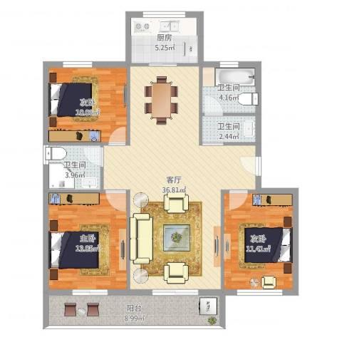 百丈花园3室1厅3卫1厨120.00㎡户型图