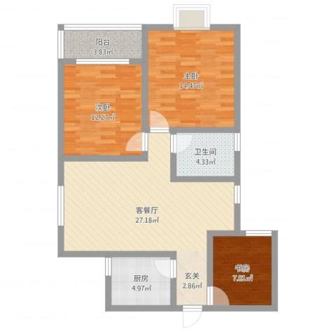 鼎盛・帕堤欧3室2厅1卫1厨93.00㎡户型图
