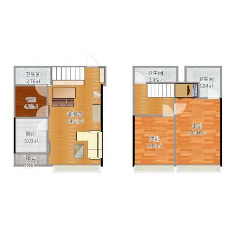 国利大厦复式3室2厅3卫1厨94.00㎡户型图