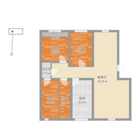 万达花园4室2厅1卫1厨102.00㎡户型图