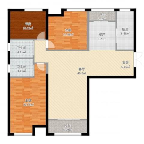 振业城中央3室1厅2卫1厨147.00㎡户型图