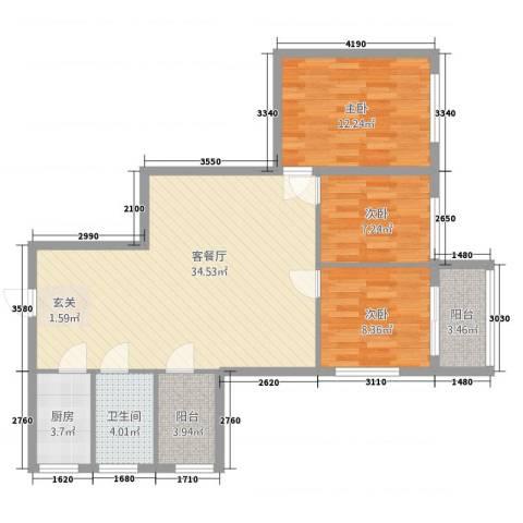 保利红棉花园3室2厅1卫1厨109.00㎡户型图