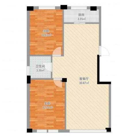 东翠鸣苑2室2厅1卫1厨76.00㎡户型图