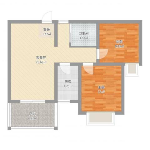 百商又一城2室2厅1卫1厨75.00㎡户型图