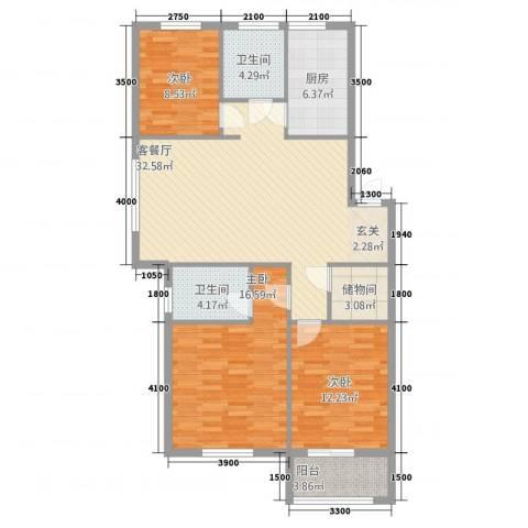 紫金一号3室2厅2卫1厨110.00㎡户型图
