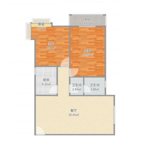 铁路小区2室1厅2卫1厨107.00㎡户型图