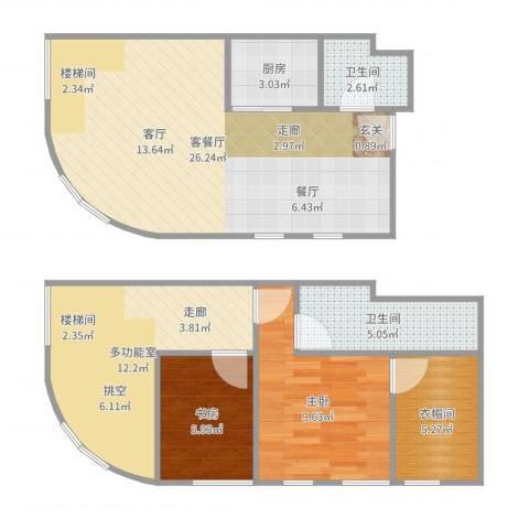 TOUCH悦城2室2厅2卫1厨87.00㎡户型图