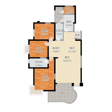 龙汇花园3室1厅2卫1厨172.00㎡户型图