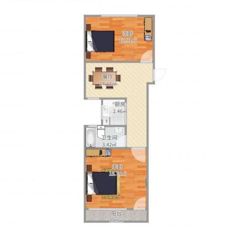 惠德新村2室1厅1卫1厨70.00㎡户型图