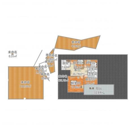闵富大厦1号18014室1厅2卫1厨837.00㎡户型图