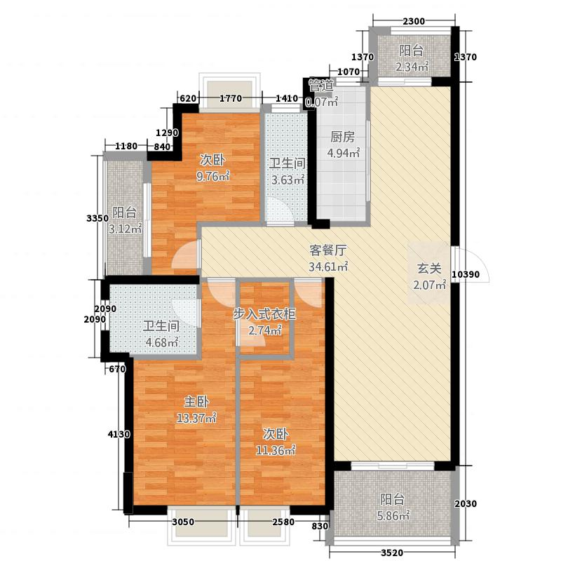 万达广场14138.20㎡D户型4室2厅2卫1厨