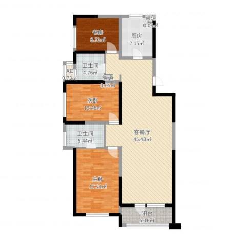 万科金域蓝湾3室2厅2卫1厨134.00㎡户型图