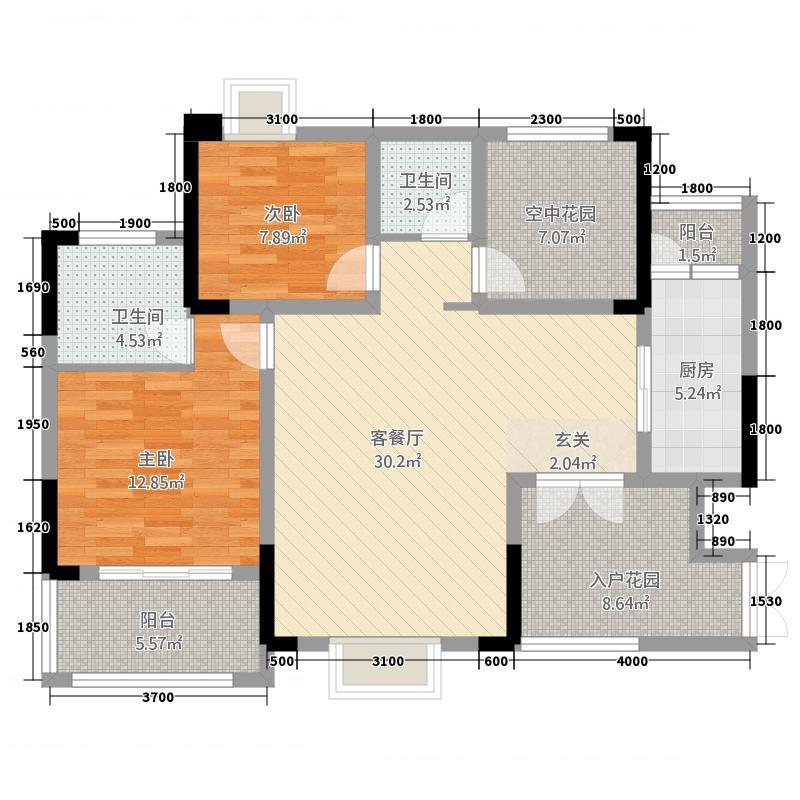 民族・商业城16.32㎡户型2室2厅2卫1厨