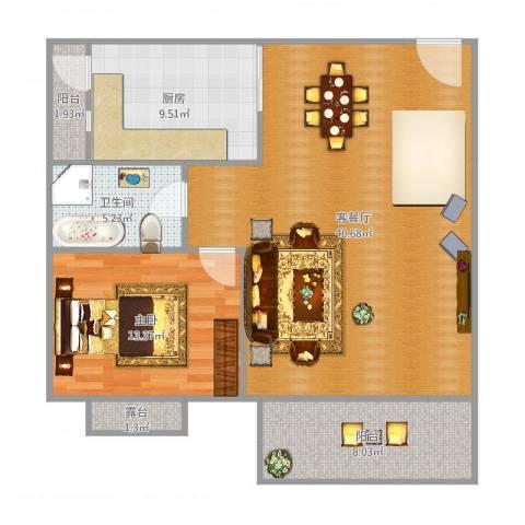 远太万城1号1室2厅1卫1厨100.00㎡户型图