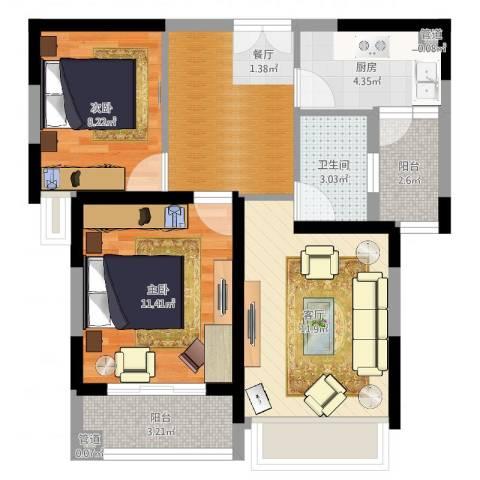 聚金万佳苑2室1厅1卫1厨67.00㎡户型图