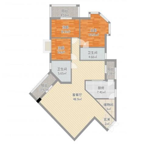 汇豪大厦3室2厅2卫1厨135.00㎡户型图