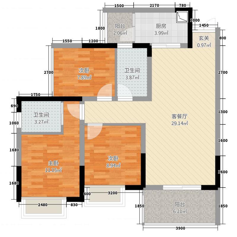 中韩广场4.42㎡户型3室2厅2卫1厨