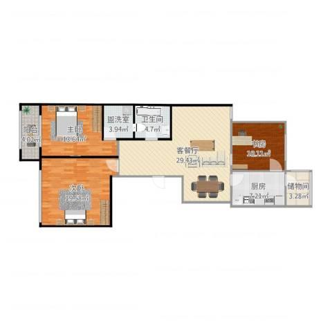 光明小区B3东侧户型3室4厅1卫1厨120.00㎡户型图