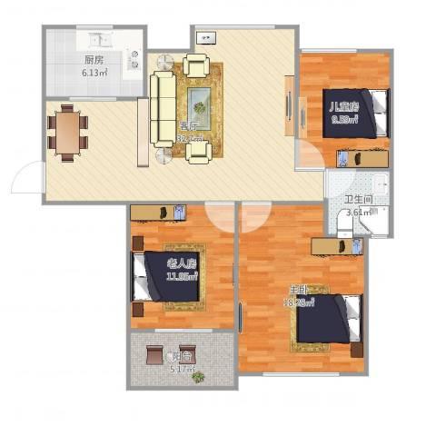 亚特蓝郡3室1厅1卫1厨109.00㎡户型图