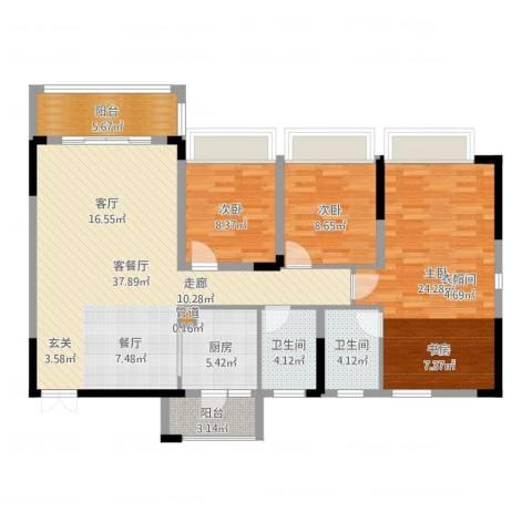 美丽湾畔花园3室2厅2卫1厨127.00㎡户型图