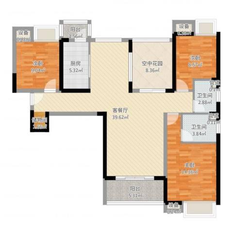 东莞长安万达广场3室2厅2卫1厨126.00㎡户型图