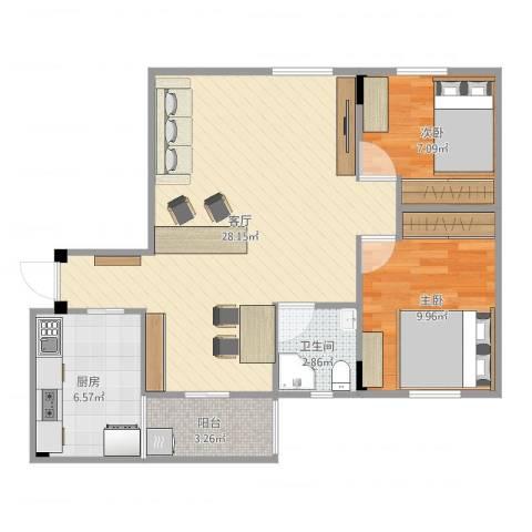 广海花园2室1厅1卫1厨72.00㎡户型图