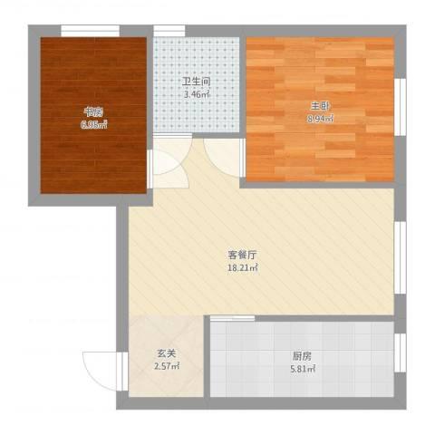 其仕盛和祥2室2厅1卫1厨54.00㎡户型图