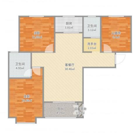 光华里潘先生3室2厅3卫1厨114.00㎡户型图
