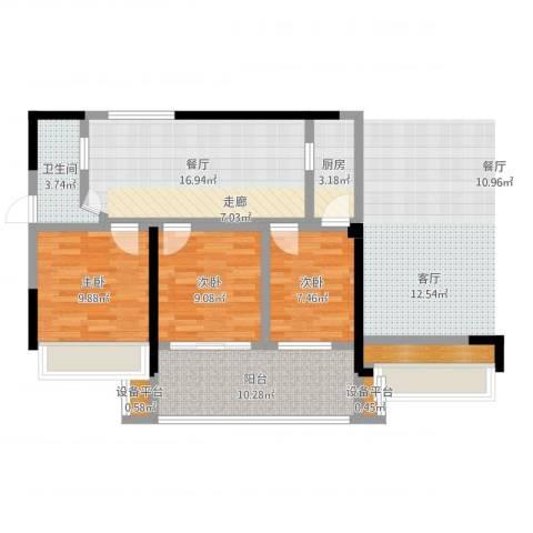 金色领寓3室1厅1卫1厨80.00㎡户型图