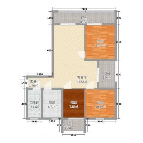 江都新加坡花园3室2厅1卫1厨135.00㎡户型图