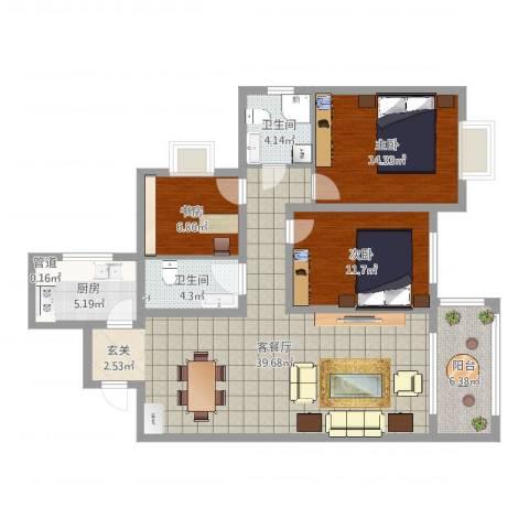 府西国际公寓3室2厅3卫1厨116.00㎡户型图