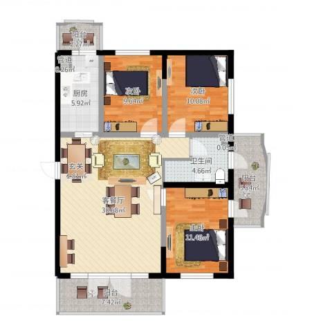 宏伟华轩3室2厅1卫1厨110.00㎡户型图