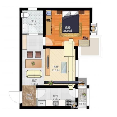 心之筑1室1厅1卫1厨57.00㎡户型图